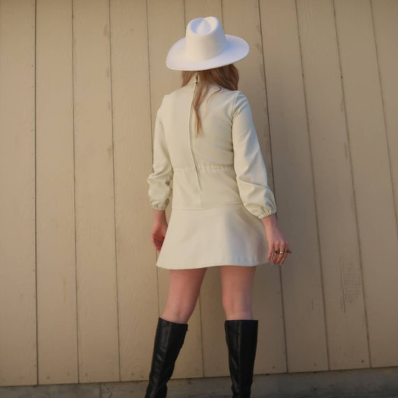 Vintage 60s MOD cream long sleeve mini dress S - image 4
