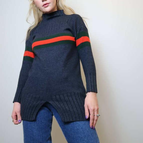 vintage 90s maroon and multi color striped fleece pull over sweater with half zipper vintage 1990s boho bohemian striped zip up sweater
