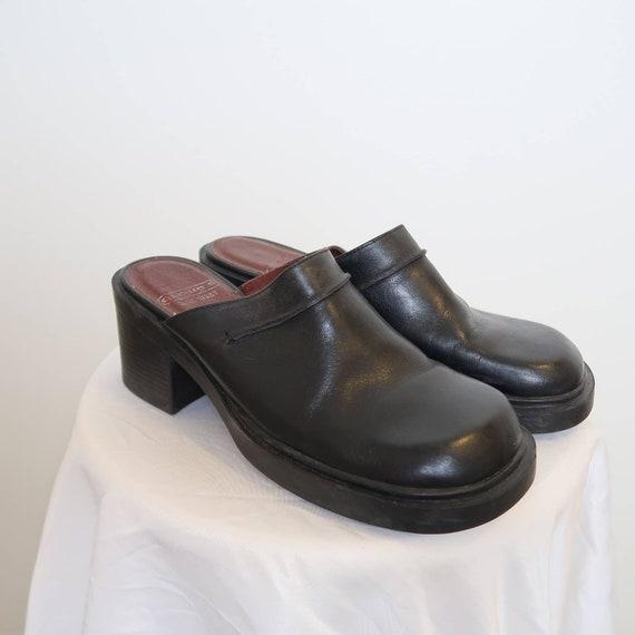 Vintage 90s Nine West black leather chunky mules 8 - image 3