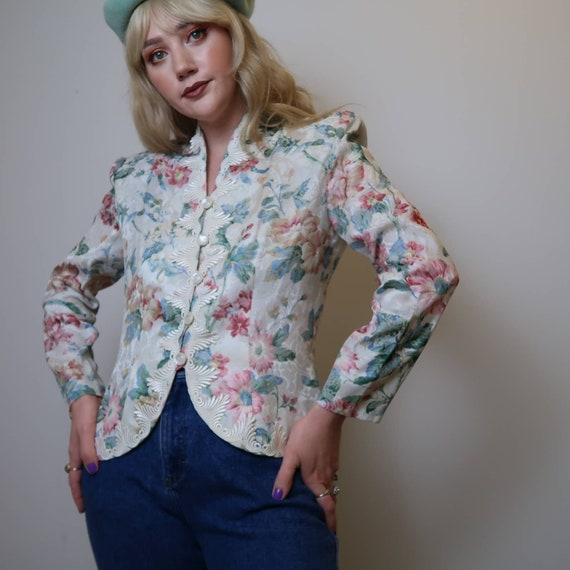 Vintage 80's white floral print jacquard blazer