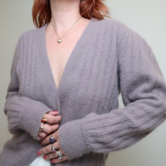 Vintage 90s grey lilac angora cardigan sweater M - image 2