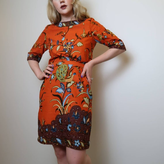 Vintage handmade orange printed two piece set