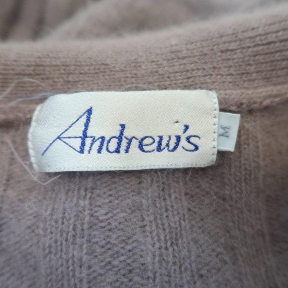 Vintage 90s grey lilac angora cardigan sweater M - image 8