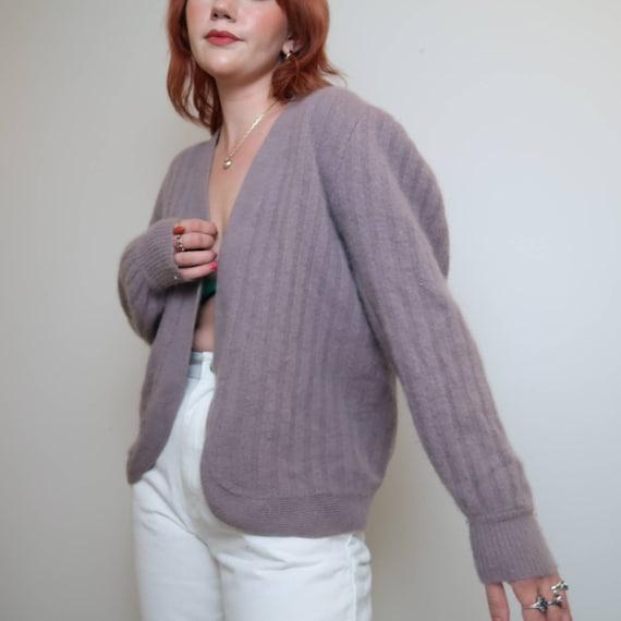 Vintage 90s grey lilac angora cardigan sweater M - image 3