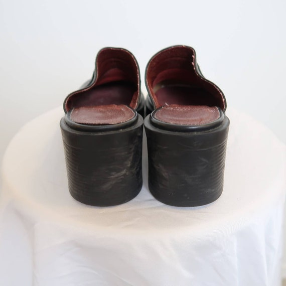 Vintage 90s Nine West black leather chunky mules 8 - image 5