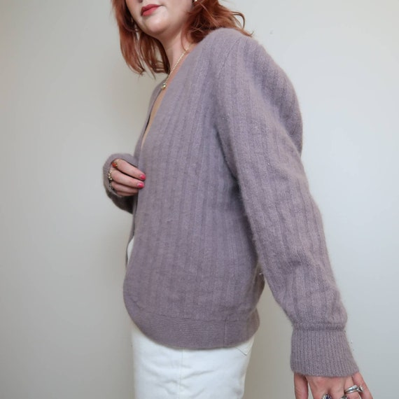 Vintage 90s grey lilac angora cardigan sweater M - image 6