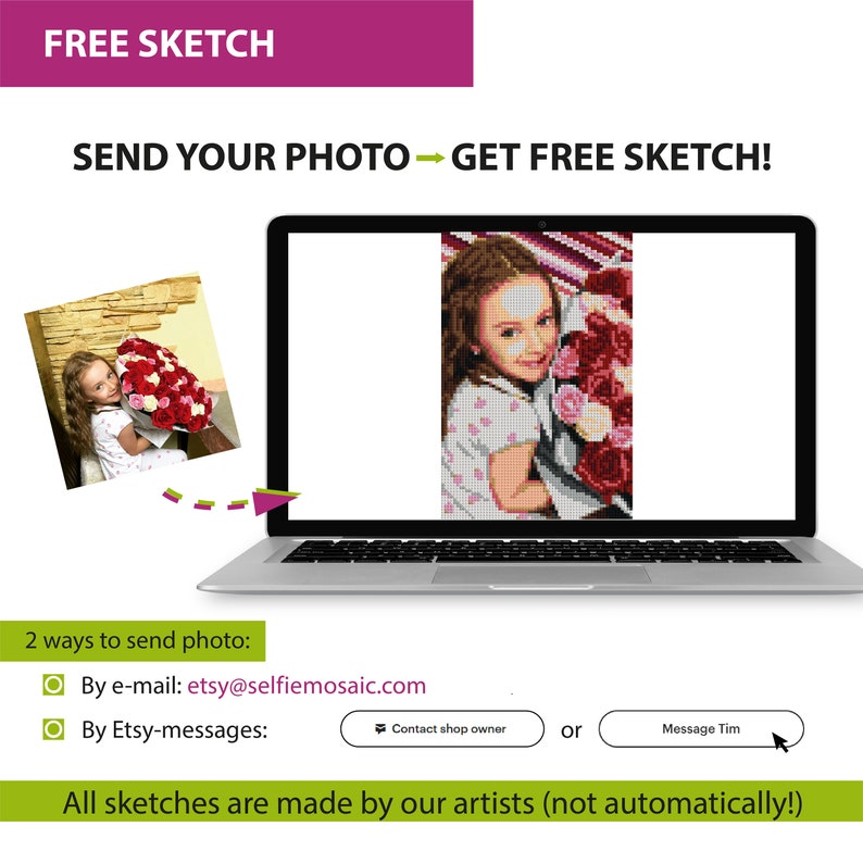 77x51 cm Personalized Gift for Daughter  DIY Mosaic Portait  Personalized Photo Puzzle  6000 Bricks Jigsaw Puzzle Portrait 30x20\u2033