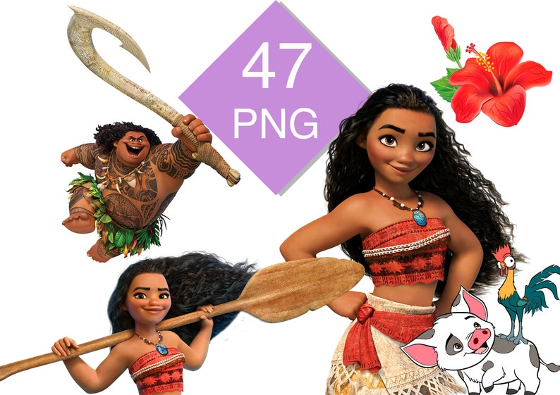 Moana Clipart bundle, Moana Clipart PNG files, Baby Moana images on  transparent background