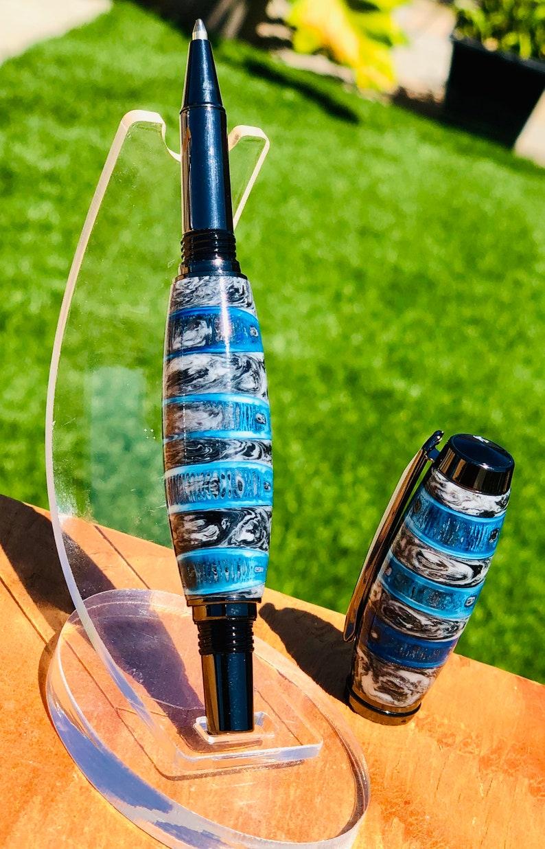 Dyed Blue Shark Vertebrae Rollerball Pen