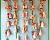 Windchime with cow bells and unique clay beads, wall art decor, bells on a string, carillon, hanging mobile, jingle bell rustic country boho