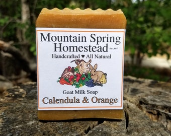 Calendula and Orange Goat Milk Soap - Natural Soap - Handmade