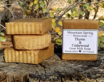 Thyme and Cedarwood Goat Milk Soap 4 Pack - Natural Soap - Handmade