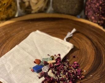 Spell Sachets-spell-vegan-occult-protection-third eye-chakra-stones-herbs-herbal-sachets