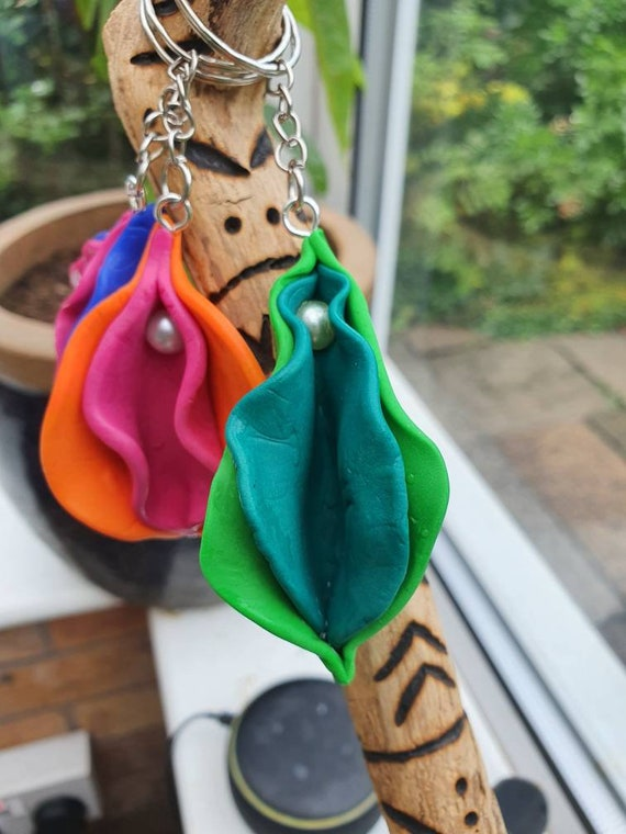 Different Colours Available! Handmade Vulva Keychain