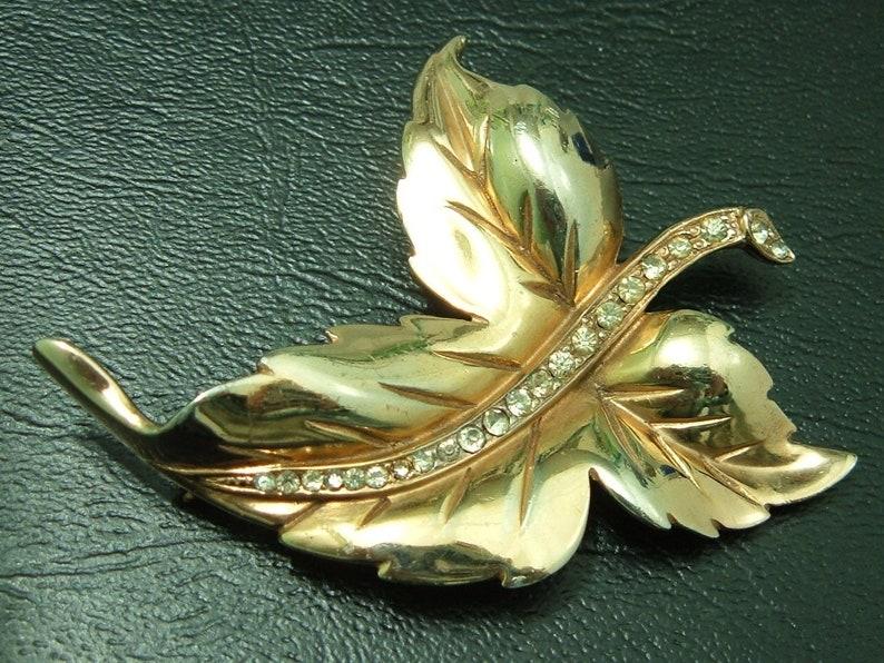 Timeless Piece 1940s Large Sterling Silver Gilt Rhinestone Leaf Brooch Pin Retro Mid Century