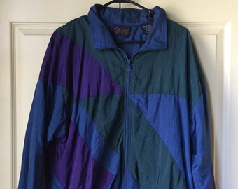 ec5a5228 VINTAGE MATCHING SET Unisex Vintage Blue, Purple, and Green Tracksuit /Windbreaker