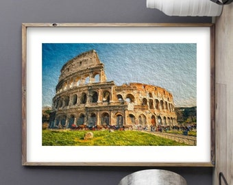 Roman Bath Uk  art Vintage painting Travel Poster Print  Glass Frame 90cm