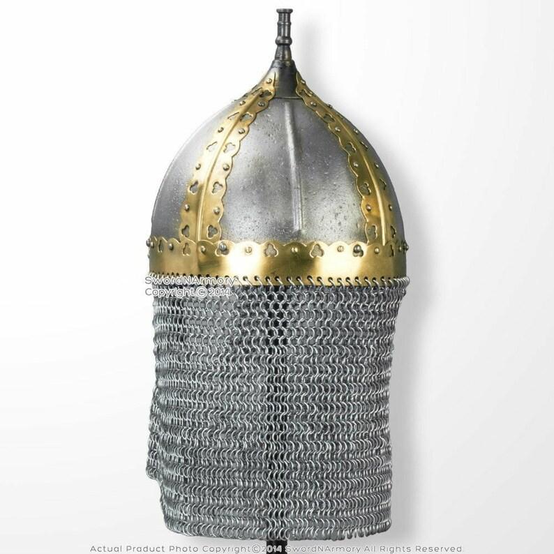 18G Steel Medieval Helmet with Chainmail Camail SCA WMA GJERMUNDBU Viking Age Helmet Halloween Costume Medieval Russian Boyar Helmet