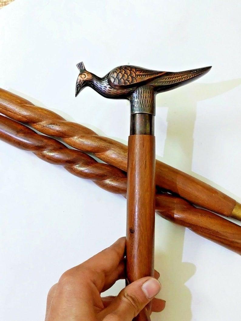 "Antique Look 37/"" Vintage Antique Crow Brass Wood Victorian Walking Stick Cane"