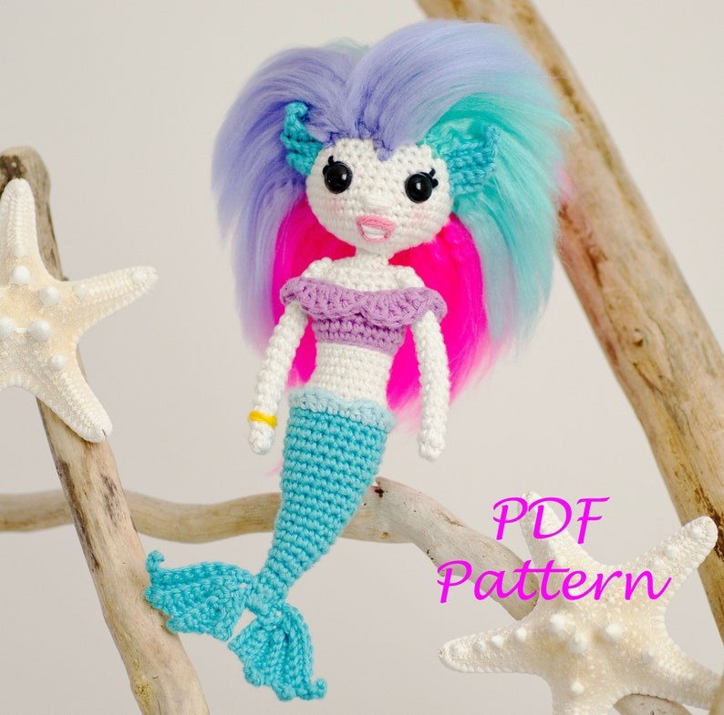 The Little Mermaid with Removable Tail and Fish Friend amigurumi ... | 785x794