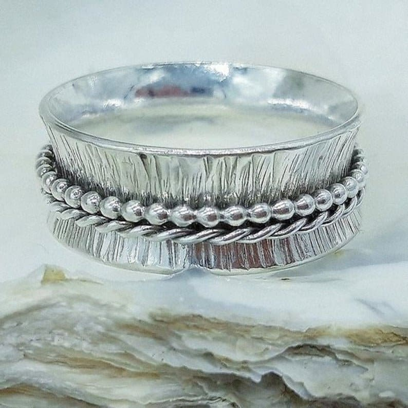 Handmade 925 Sterling Silver /& Spinner Statement Ring Jewelry