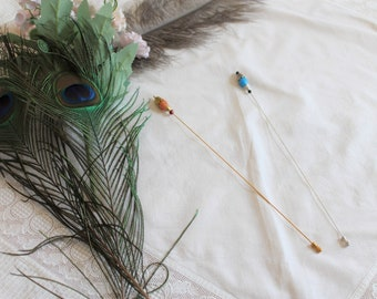 Hat needle silver or gold 26 cm long