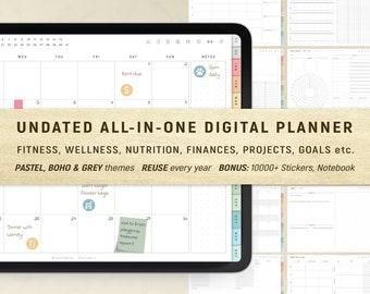 Digital Planner, GoodNotes Planner, Undated Digital Planner, iPad Planner, Daily Planner, Weekly Planner, Notability Planner