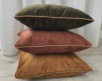Dusty Chestnut Velvet Pillow Cover , Light  Caramel Velvet Pillow Cover, Dusty Olive Green Velvet Pillow Cover, 20x20, 22x22, 24x24