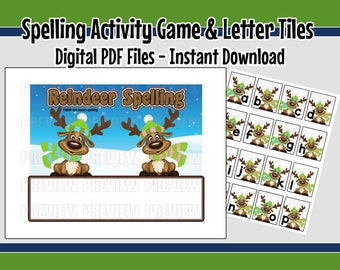 photograph relating to Printable Spelling Games referred to as Printable Spelling Match Spelling Phrases Spelling Recreation Etsy