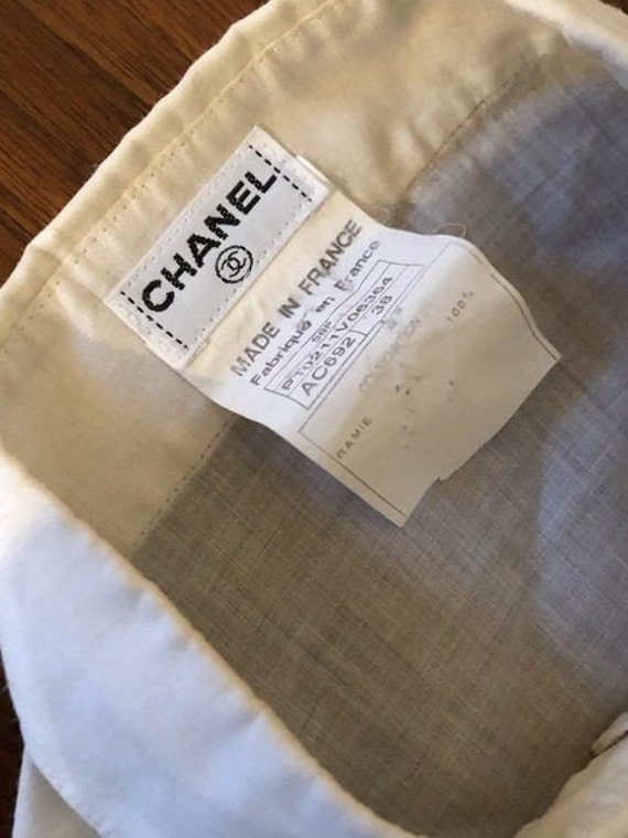 Vintage CHANEL Cropped Ruffle Pleated White Linen… - image 5