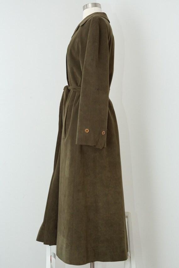 Vintage 1970s Halston Fur Lined Khaki Green Ultra… - image 4