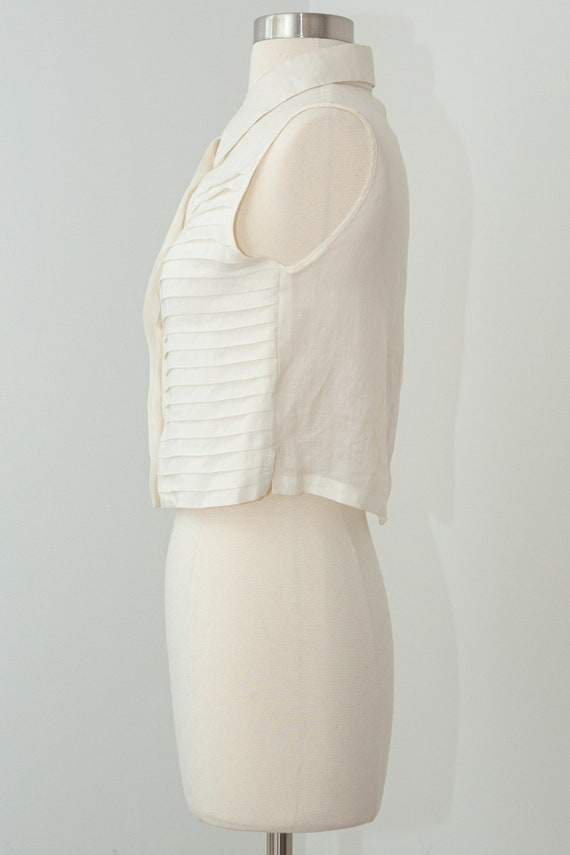 Vintage CHANEL Cropped Ruffle Pleated White Linen… - image 4
