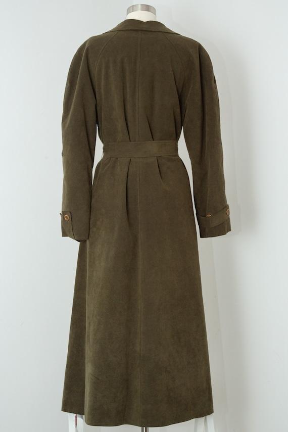 Vintage 1970s Halston Fur Lined Khaki Green Ultra… - image 2