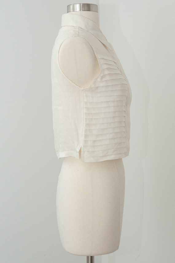 Vintage CHANEL Cropped Ruffle Pleated White Linen… - image 3