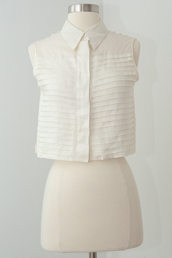Vintage CHANEL Cropped Ruffle Pleated White Linen