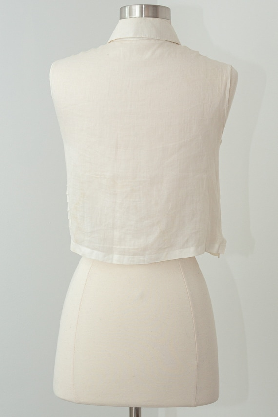 Vintage CHANEL Cropped Ruffle Pleated White Linen… - image 2