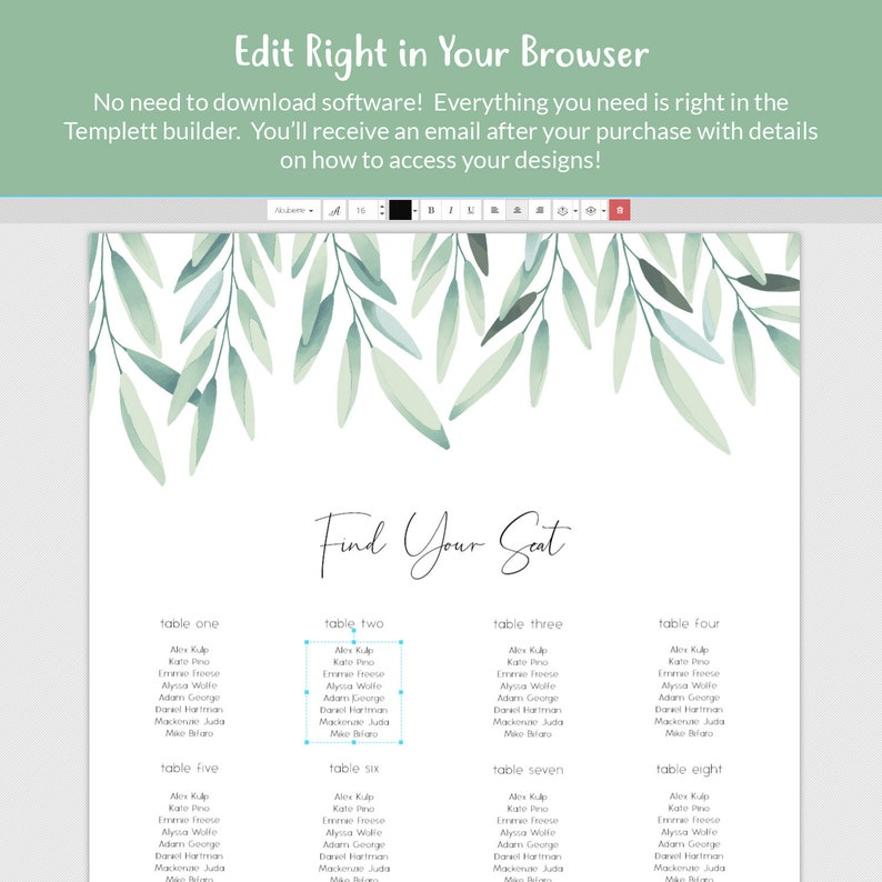 Olive Branch Leaves Seating Chart Watercolor Greenery Seating Board Sign Editable Template DIY Wedding Template DEMO AVAILABLE Printable