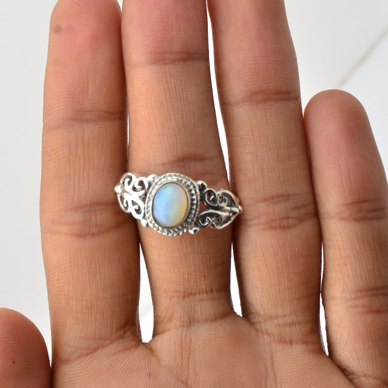 Solitaire Silver Ring 925 Sterling Silver Natural Opal Gemstone Handmade Ring Ethiopian Opal Silver Ring Solitaire Ring Gift For Her