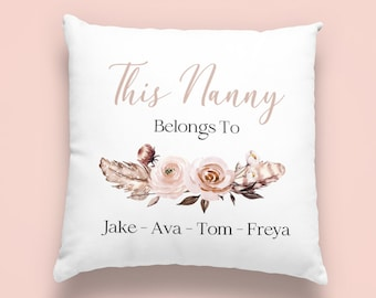 Personalised Nanny Cushion Mothers day Birthday gift Mum Nan Grandma Mummy