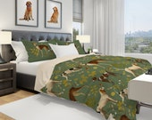 Dug Bedding Set, Sage Duvet Cover Queen, Twin, Hunting Bedding with Pillow Shams, Dogs Bedroom Décor, Retro Bedding