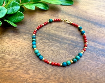 Genuine African Turquoise and Natural Red Coral Beaded Bracelet for Women/Gift for Her/Delicate Turquoise Bracelet/Healing Stones/Minimalist