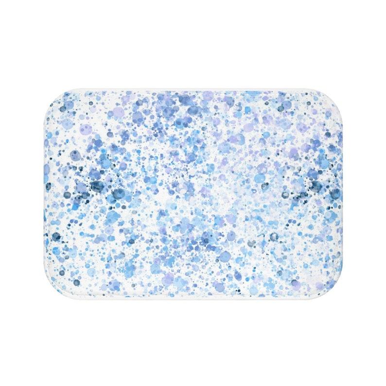 Abstract Bath Mat Purple Bathroom Decor Bath Decor Blue Splatter