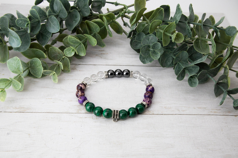 8mm  ADHD Focusing  Chakra Clearing  Optimism  Malachite  Purple Jasper  Hematite Peace /& Tranquility Charm Bracelet