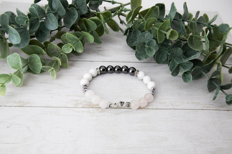 8mm   Rose Quartz  Howlite  Hematite Unconditional Love Charm Bracelet