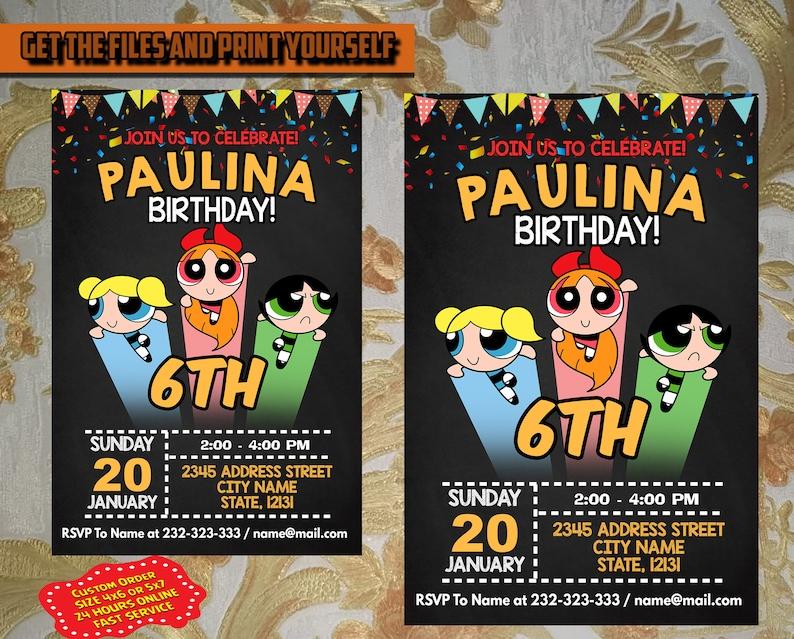 Editable Power Puff Girls Birthday Invitation Power Puff Girls Invitation Power Puff Girls Birthday Printables Birthday Invitation Card