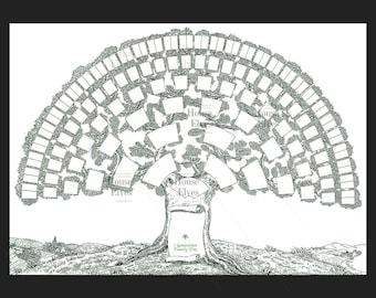Family tree, vintage ephemera JPEG Instant download collaging French scrapbook page junk journal insert green black