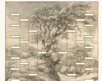 Family Tree Chart Drawing 18 inch Square Print Wall Art Poster Dune Landscape with Oak Tree 4 5 Generations