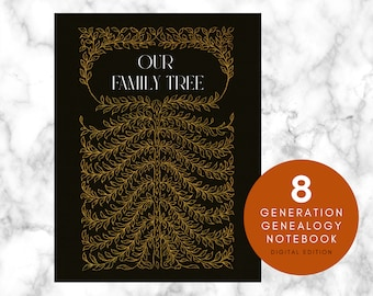 Family Tree Notebook for 8 Generations digital edition Genealogy Chart and Ancestry Book for 255 ancestors, GoodNotes journal