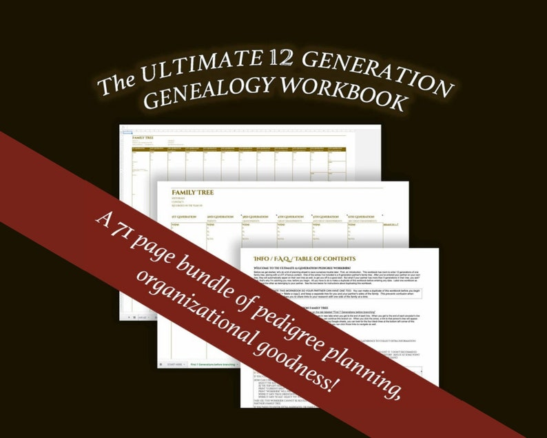 ULTIMATE 12 GENERATION Family History Pedigree Chart  new and image 0