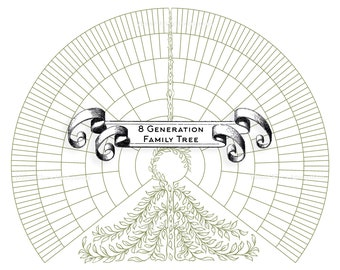 Family Tree Chart for 8 Generations - blank JPG digital download